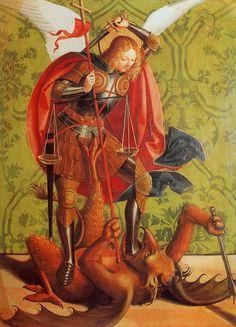 1480-1500 Josse Lieferinxe Saint Michel Terrassant le démon, Michel saint Embanking the demon Musée du Petit-Palais, Avignon