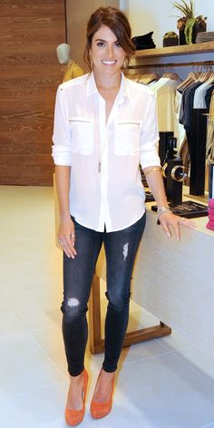 Classic white shirt, skinnies, and bright pumps