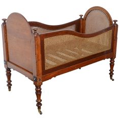 Antique Mahogany Babies Or Dolls Cradle With Wicker Made In Usa Circa 1860