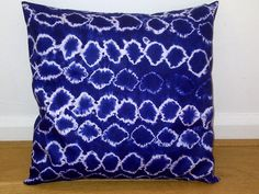 Blue White Circles African Tie & Dye Pillow Cushion Geometric  18 x 18 inches Ready to ship