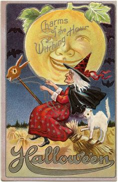 Vintage Halloween Witch Image with Moon Man - The Graphics Fairy