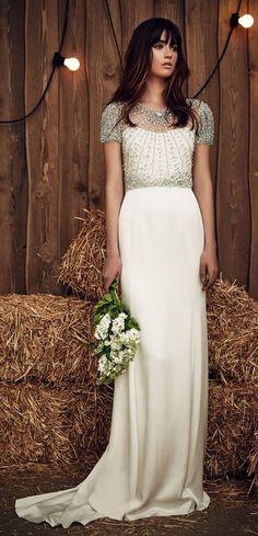 Jenny Packham Spring 2017 beaded cap sleeves wedding dress - Deer Pearl Flowers / http://www.deerpearlflowers.com/wedding-dress-inspiration/jenny-packham-spring-2017-beaded-cap-sleeves-wedding-dress/