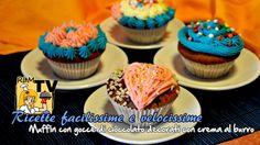 Muffin con gocce di cioccolato decorati con crema al burro