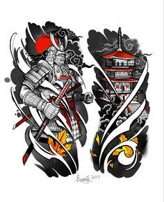 Samurai Tattoo Sleeve, Samurai Warrior Tattoo, Dragon Sleeve Tattoos, Leg Sleeve Tattoo, Full Sleeve Tattoos, Tattoo Sleeve Designs, Tattoo Designs Men, Japanese Tattoos For Men, Japanese Tattoo Designs