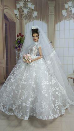 bride dolls Amon Design Gown Outfit Dress for Fashion Royalty, FR, Barbie, Doll Barbie Bridal, Barbie Wedding Dress, Wedding Doll, Luxury Wedding Dress, Barbie Dress, Barbie Doll, Cinderella Wedding, Wedding Dresses Plus Size, Best Wedding Dresses