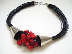 Coral Multi Strand Black Cord Statement Necklace Silver Hammered Contemporary Coral and Cord Modern Necklace - Coral Multi Strand Black Cord Statement Necklace Silver The Effective Pictures We Offer You About j - Diy Jewelry Necklace, Coral Jewelry, Necklace Designs, Silver Necklaces, Beaded Jewelry, Silver Jewelry, Beaded Necklace, Statement Necklaces, Strand Necklace