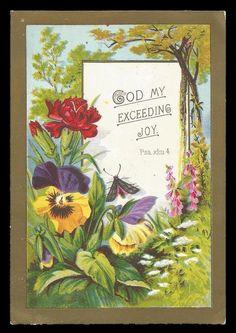 M72 - VICTORIAN RELIGIOUS CARD - GOD MY EXCEEDING JOY - WATTS POEM ON BACK | eBay