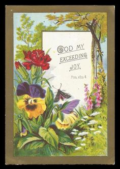 M72 - VICTORIAN RELIGIOUS CARD - GOD MY EXCEEDING JOY - WATTS POEM ON BACK | eBay
