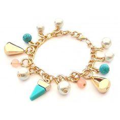 Pulsera con Perlas y Cadena de Aluminio