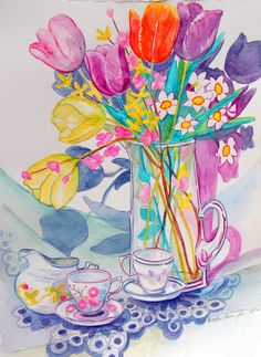 Mother's Day watercolor pencil by Carolyn Owen Sommer