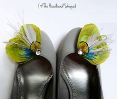 Peacock Shoe Clips OLIVIA Lime Green Grey by TheHeadbandShoppe