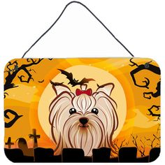 "Caroline's Treasures Halloween Yorkie Yorkshire Terrier by Denny Knight Graphic Art Plaque Size: 8"" H x 12"" W"