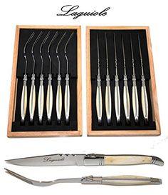 Authentisch Laguiole - 12-tlg Steakbesteck (6 Steakmesser + 6 Gabeln) - Knochengriffe - Klingenstärke: 2 mm - Klinge: glatt und sehr scharf - ideal Steak/Pizza Messer - Klingenstärke: 2 mm (Tafelbesteck/Spezial Besteck Set für 6 Personen - direkt aus Frankreich) - http://besteckkaufen.com/laguiole/authentisch-laguiole-12-tlg-steakbesteck-6-6-2-mm-2