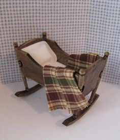 dollhouse cradle, ,  country style, , dollhouse miniature, twelfth scale,