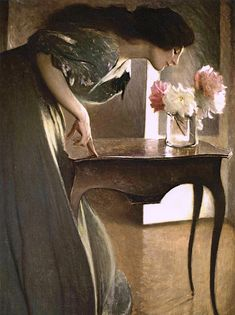"loumargi: ""John White Alexander - A Flower "" Impressionist Artists, Canadian Art, Vintage Artwork, Queen, Beautiful Artwork, Figure Painting, American Artists, Character Art, Modern Art"