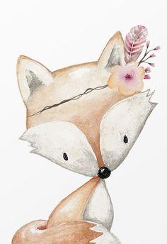 Animal Paintings, Animal Drawings, Wood Badge, Kids Graphics, Fox Art, Baby Art, Woodland Baby, Baby Design, Baby Decor