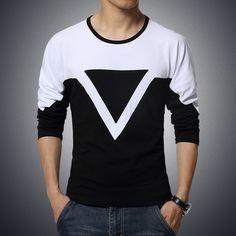 2016 marca ropa de hombre t-shirt de algodón casual cuello redondo de la camiseta de moda del homme triángulo de manga larga camiseta 5XL blanco negro(China (Mainland))
