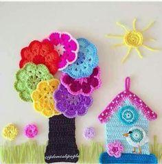 home accessories ideas Crochet Waffle Stitch, Crochet Bee, Crochet Birds, Freeform Crochet, Crochet Motif, Crochet Flowers, Crochet Applique Patterns Free, Crochet Patterns Amigurumi, Knitting Patterns