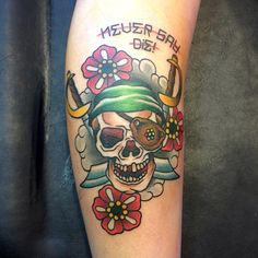 Goonies never say die! By Zane at STR Body Modifications, Wyong, NSW Sea Life Tattoos, Top Tattoos, Great Tattoos, Skull Tattoos, Sleeve Tattoos, Game Tattoos, Tatoos, Incredible Tattoos, Beautiful Tattoos