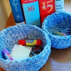 I just made the small basket and it is very cute. Petals to Picots Crochet: Green Crocheting: Fabric Nesting Baskets Pattern Crochet Fabric, Fabric Yarn, Knit Or Crochet, Bead Crochet, Crochet Crafts, Crochet Patterns, Fabric Bowls, Crochet Designs, Knitting Patterns