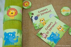 Jungle safari tag and napkin ring - Jungle Safari Printables for Birthday or Baby Shower by Press Print Party! #jungle #party