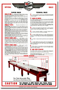National Shuffleboard Rules Poster at ZieglerWorld.com