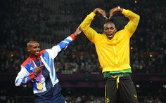 """Mo Farah doing the """"Bolt"""" and Usain Bolt doing the """"Mobot"""" (London 2012 Olympic Games)"""