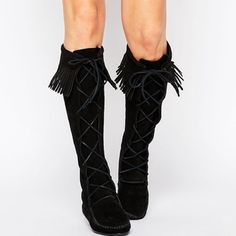 Minnetonka Black Lace Up Fringe Boots Super on trend and perfect for the cold! Celeb + blogger fave. Currently $226 on asos.com. Brand new in the box! No trades!! 10231547dswr Minnetonka Shoes Lace Up Boots