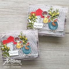 Chicken Images, Mini Sales, Fabric Cards, Chickens And Roosters, Bird Cards, Stamping Up Cards, Ink Pads, Creative Cards, Note Cards