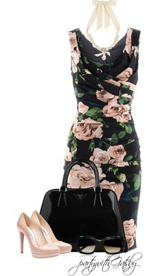 """Black Rose"" dress very cute for cocktail party wedding date night... love this dress by partywithgatsby on Polyvore"