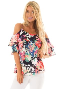 Neon Floral Print Cold Shoulder Top White Outfits, Pretty Outfits, Body Type Clothes, Simple Dresses, Beautiful Dresses, Casual Wear, Casual Outfits, Cute Boutiques, Unique Fashion
