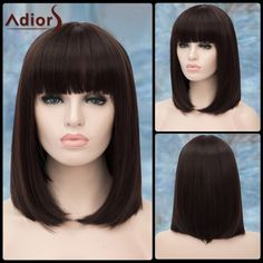 14.17$  Buy now - http://diptf.justgood.pw/go.php?t=200611501 - Short Glossy Straight Neat Bang Adiors Synthetic Wig 14.17$
