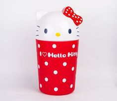 Hello Kitty Wastebasket: Red Dot