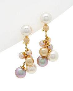 """Rue La La — Majorica 18K Over Silver Man-Made 3-8mm Pearl Drop Earrings. 1.81""""x0.71"""" approx.. White, rose, champagne, nuage, and salmon pearls Lever backs.  79.99 was 185.00"""