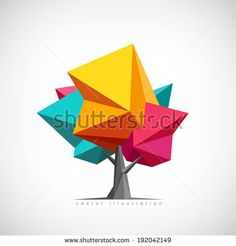 Conceptual polygonal tree. Abstract vector Illustration, low poly style. Stylized design element. Background design for poster, flyer, cover, brochure. - stock vector
