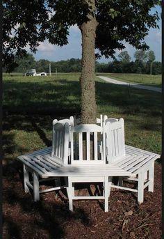 Un banc rond d'arbre avec des chaises recyclées