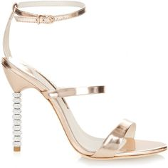 Sophia Webster Rosalind crystal-embellished leather sandals ($495) ❤ liked on Polyvore featuring shoes, sandals, heels, rose gold, heels stilettos, white strap sandals, white heeled sandals, white sandals and white shoes