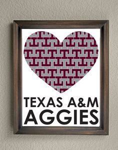 This colorful Texas A&M University Heart print is an original pattern, designed with the Texas A&M Aggies colors and symbols in mind. This print come in a variety of sizes (please see drop down menu on the right).  This print can come with or without the words, Texas A&M Aggies (please see drop down menu on the right).  This unique Texas A&M Aggies Heart print looks great by itself, or on a gallery wall with other prints. It would be a perfect gift for holidays, birthdays, or...