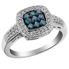 White and Blue Diamond Ring in 10K White Gold - An affordable yet beautifully crafted diamond ring in white and blue combination
