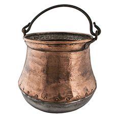 """Riveted Antique Copper Bucket Medium I -  Solid copper. 11""""h x 11""""dia"""