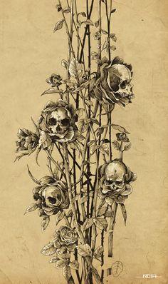 """ Pollution - Skull Roses by Noia illustration on Behance. Ink on paper. Kunst Tattoos, Bild Tattoos, Skull Tattoos, Tattoo Drawings, Art Drawings, Skeleton Tattoos, Skull Tattoo Design, Skull Design, Tattoo Crane"