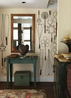 Antique rug beaters as wall art