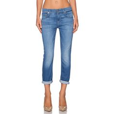 7 For All Mankind The Cropped Relaxed Skinny Denim ($111) ❤ liked on Polyvore featuring jeans, blue skinny jeans, frayed jeans, skinny jeans, relaxed fit jeans and blue jeans