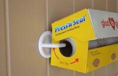 Hang rolls on pantry door with plastic hooks