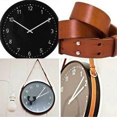 Accrocher une horloge ikea avec une ceinture en cuir