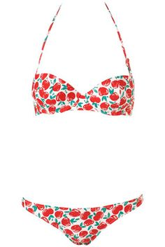apple print bikini