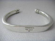 TIFFANY & Co 1997 Elsa Peretti SIGNATURE Sterling Silver CUFF Bracelet Very RARE - http://elegant.designerjewelrygalleria.com/tiffany/tiffany-co-1997-elsa-peretti-signature-sterling-silver-cuff-bracelet-very-rare/