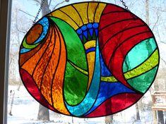 Multicolored Satined glass oval suncatcher