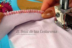 Coser telas elásticas con el prensatelas para bordes sobrehilados falso overlock puntada superior