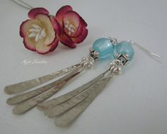 Stunning aqua silver foil bead earrings with hammered by annagiles,